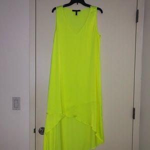 BCBG yellow high low silk dress